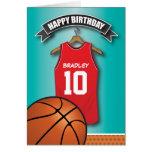 El jersey rojo del baloncesto se divierte tarjeta de felicitación