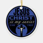 El Jesucristo es mi salvador (azul) Ornamento De Reyes Magos