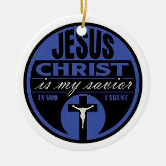 El Jesucristo es mi salvador azul Ornamento De Reyes Magos