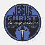 El Jesucristo es mi salvador (azul) Etiquetas