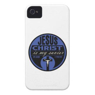 El Jesucristo es mi salvador (azul) Funda Para iPhone 4 De Case-Mate