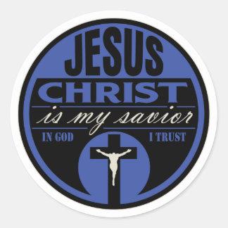 El Jesucristo es mi salvador (azul) Pegatina Redonda