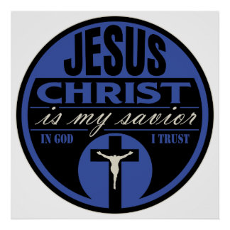 El Jesucristo es mi salvador (azul) Póster