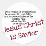 El Jesucristo es salvador Pegatina Redonda