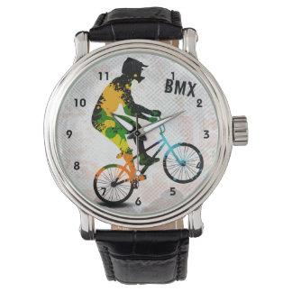 El jinete de BMX en pintura abstracta salpica SQ Relojes De Pulsera