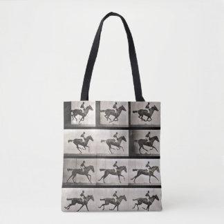 El jinete en un caballo galopante, platea 627 de bolsa de tela