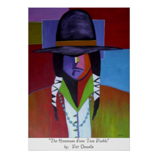 """""""El jinete impresión del pueblo de Taos"""" Poster"""