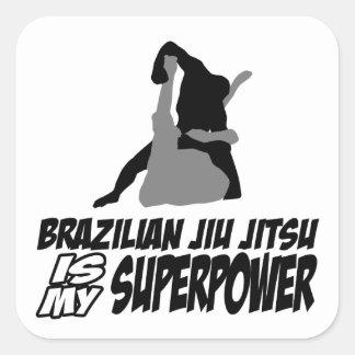 El jitsu brasileño del jiu es mi superpotencia pegatina cuadradas personalizadas