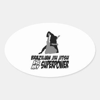 El jitsu brasileño del jiu es mi superpotencia calcomania óval personalizadas