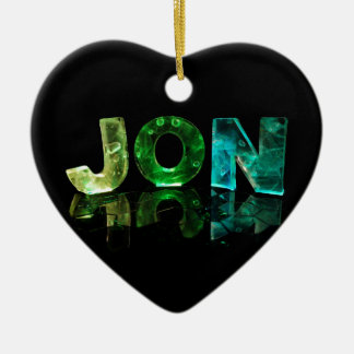 El Jon conocido en 3D se enciende (la fotografía) Adorno Navideño De Cerámica En Forma De Corazón