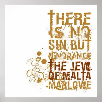El judío de la cita de la ignorancia de Malta Poster