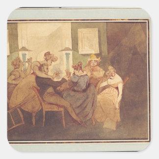 El juego de tarjeta, después de 1830 pegatinas cuadradases