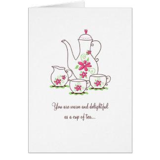 El juego de té le agradece cardar, las flores tarjeta pequeña