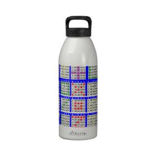 El juego del bingo modela grande botella de agua