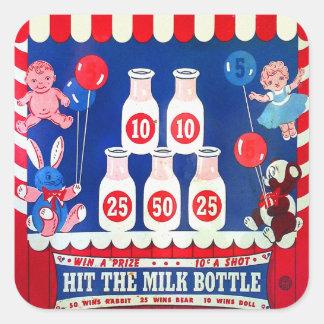 El juego del carnaval del vintage del kitsch pegatina cuadrada
