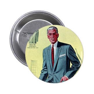El juego del vintage del kitsch de los hombres ret pin redondo de 2 pulgadas