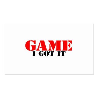 El juego I lo consiguió Plantilla De Tarjeta De Visita