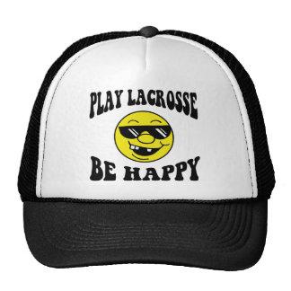 El juego LaCrosse sea feliz Gorras
