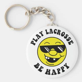 El juego LaCrosse sea feliz Llavero Redondo Tipo Pin