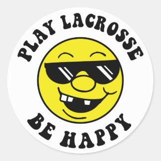 El juego LaCrosse sea feliz Etiquetas Redondas