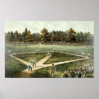 El juego nacional americano del béisbol impresiones
