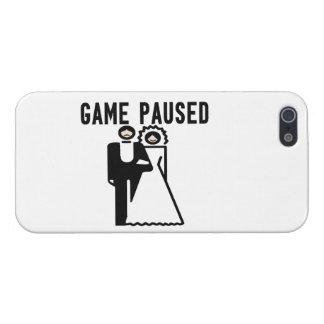 El juego se detuvo brevemente novia y novio iPhone 5 carcasas