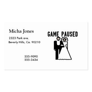 El juego se detuvo brevemente novia y novio tarjetas de visita