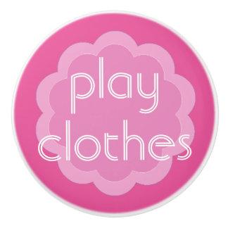 el juego viste el botón rosado de la flor de la pomo de cerámica