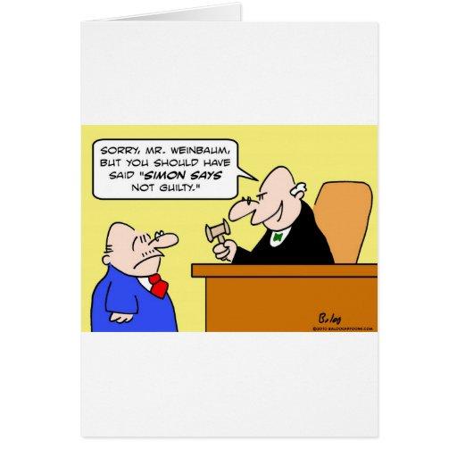 el juez Simon dice no culpable Tarjeta