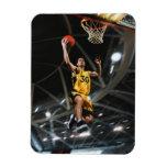 El jugador de básquet que salta en aire imanes flexibles