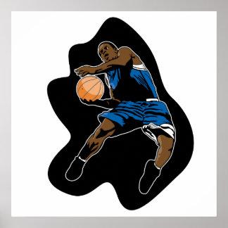el jugador de básquet salta el dunker de la clavad póster