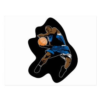 el jugador de básquet salta el dunker de la postales
