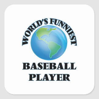 El jugador de béisbol más divertido del mundo pegatina cuadrada