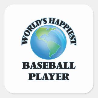 El jugador de béisbol más feliz del mundo pegatina cuadrada