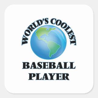El jugador de béisbol más fresco del mundo pegatina cuadrada