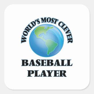 El jugador de béisbol más listo del mundo pegatina cuadrada