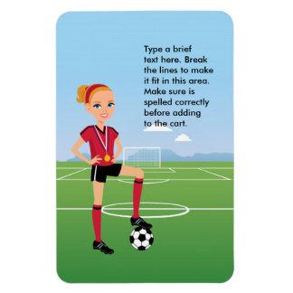 """El jugador de fútbol del chica 4"""" x 6"""" imán del re"""