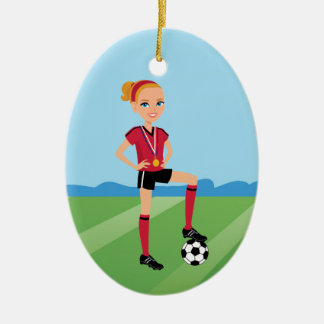 El jugador de fútbol del chica personalizado adorno navideño ovalado de cerámica