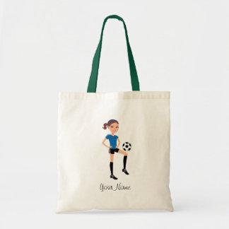 El jugador de fútbol del chica personalizado bolsa