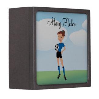 El jugador de fútbol del chica personalizado cajas de recuerdo de calidad