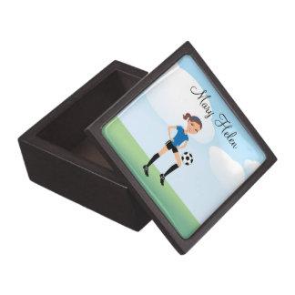 El jugador de fútbol del chica personalizado caja de regalo de calidad