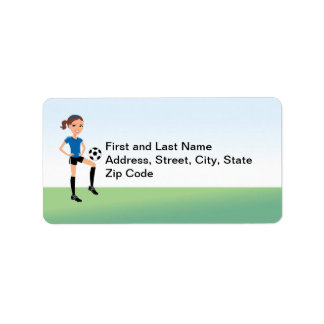 El jugador de fútbol del chica personalizado etiqueta de dirección