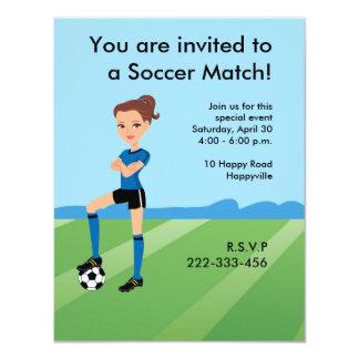 """El jugador de fútbol del chica personalizado invitación 4.25"""" x 5.5"""""""