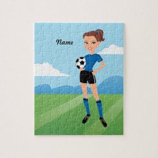 El jugador de fútbol del chica personalizado puzzle con fotos