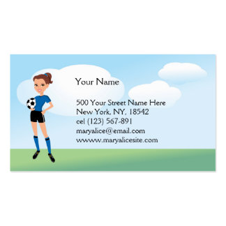 El jugador de fútbol del chica personalizado plantillas de tarjeta de negocio