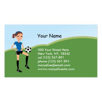 El jugador de fútbol del chica personalizado tarjetas de visita