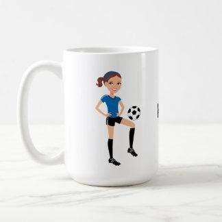 El jugador de fútbol del chica personalizado taza