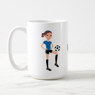 El jugador de fútbol del chica personalizado taza de café