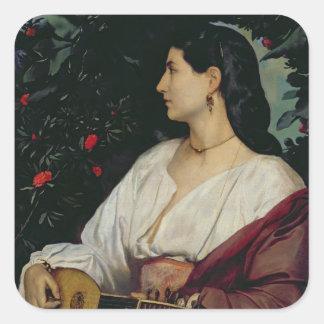 El jugador de la mandolina, 1865 pegatina cuadrada