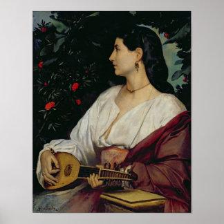 El jugador de la mandolina, 1865 póster